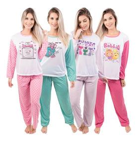 91a8dc48ab6ad1 Kit 3 Pijamas Longo Feminino Adulto Atacado De Malha Revenda
