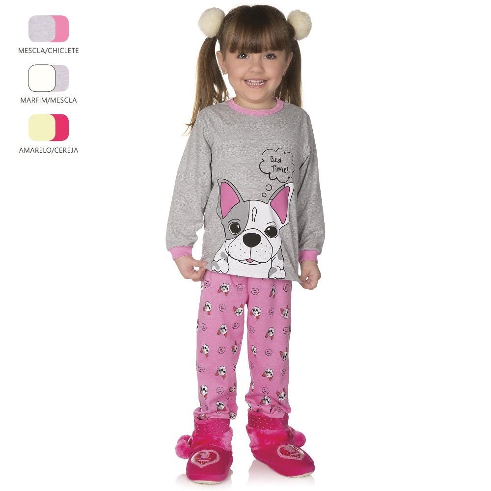 3970100c1bab99 Kit 3 Pijamas Longos De Inverno Para Menina De 1-2-3 Anos