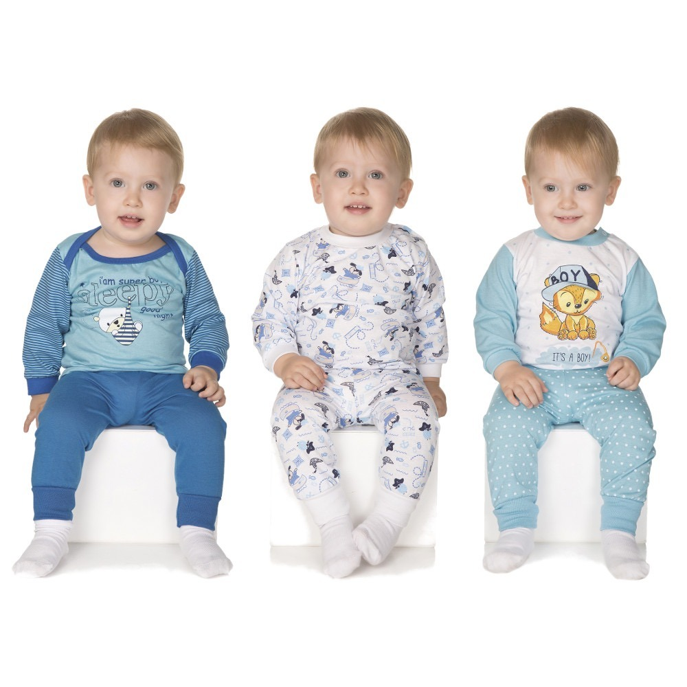 b1bb04eaf kit 3 pijamas longos para bebê menino (p-m-g inverno). Carregando zoom.