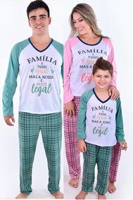 b5f52271242e07 Kit 3 Pijamas Tamanho Família Pai Mãe E Filho Ou Filha!!!