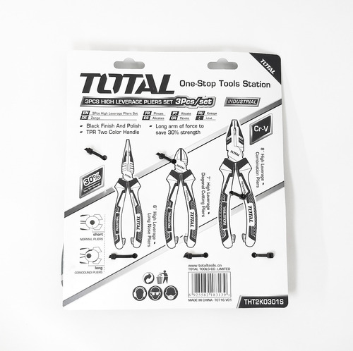 kit 3 pinzas marca total (plana, punta, alicate) - tofema