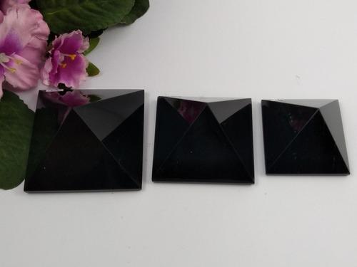 kit 3 pirâmides de obsidiana negra j135