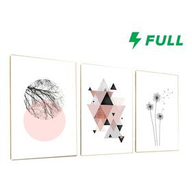 Kit 3 Placas Decorativas Quadros Dente De Leão Abstrato Rosa
