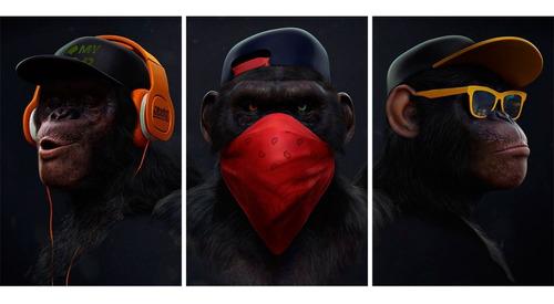 kit 3 placas decorativas quadros macacos sábios 40x60cm