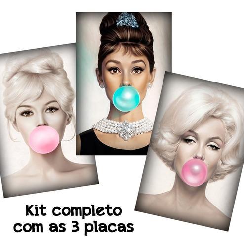 kit 3 placas decorativas quadros mulheres chiclete 40x60cm