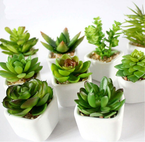 kit 3 plantas mini suculentas artificiais vaso cerâmica
