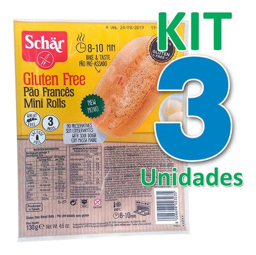 kit 3 pão francês sem glúten vegano pré assado 130g schar