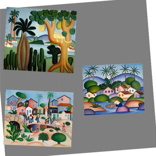 kit 3 posters tarsila pescador morro da favela cartão postal