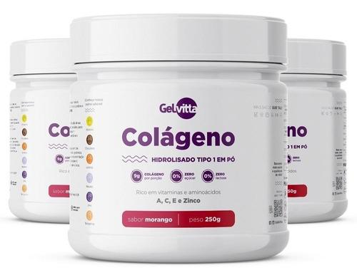kit 3 potes colágeno hidrolisado em pó tipo 1 gelvitta