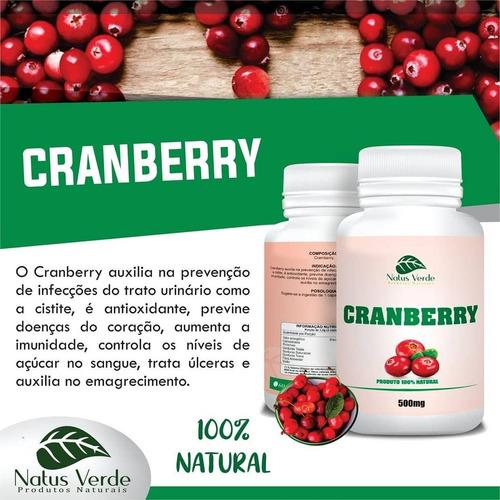 kit 3 potes cranberry 500mg 100caps total 300 capsulas