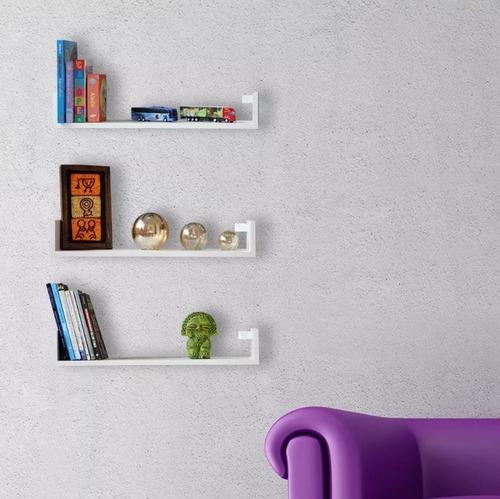 kit 3 prateleiras u 60cm branco nicho livros mdf lindas
