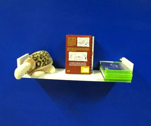 kit 3 prateleiras u mdf 60x20cm branco nicho livros revista.