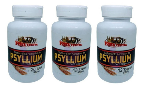 kit 3 psyllium 500mg 120 cápsulas - rei terra