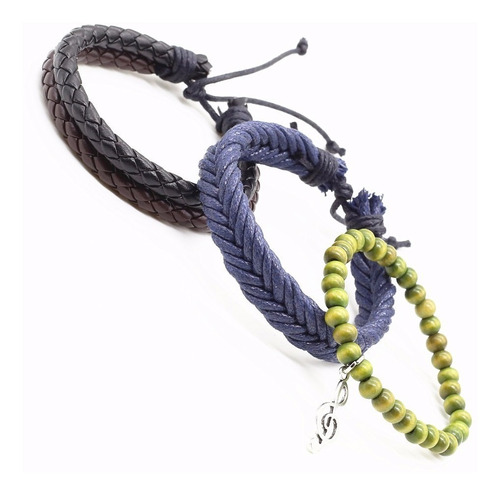 kit 3 pulseira unissex hipster hippie tribal couro clave sol