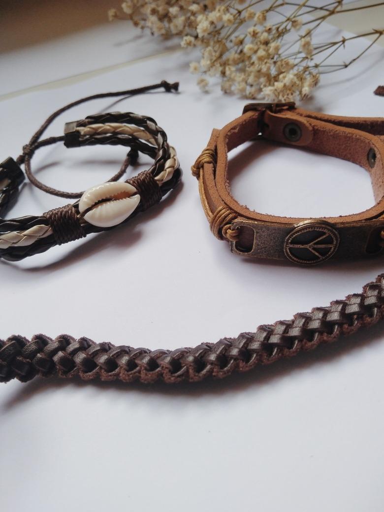 69d85187b1 kit 3 pulseiras couro trançada concha hippie paz boho. Carregando zoom.