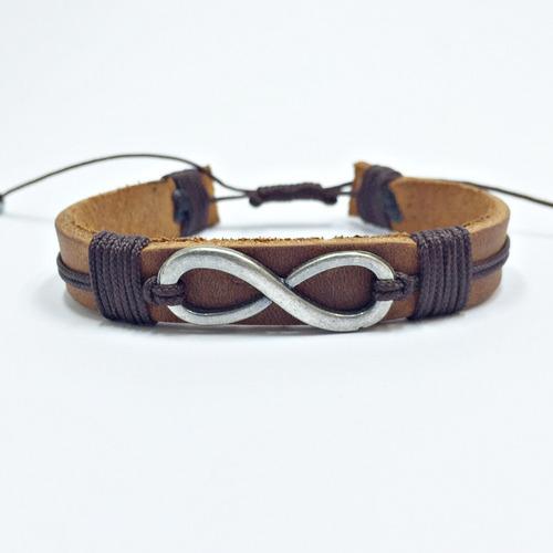 kit 3 pulseiras masculinas couro infinito ancora pena