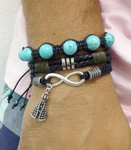 kit 3 pulseiras masculinas couro pedras infinito pingente