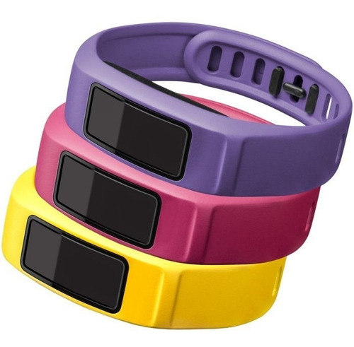 kit 3 pulseiras originais vivofit 2 grande amarelo rosa roxo