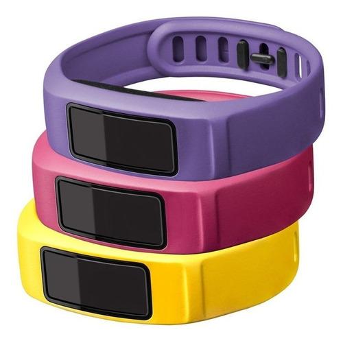 kit 3 pulseiras original vivofit 2 pequena amarelo rosa roxo
