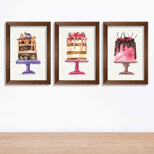 kit 3 quadros bolos coloridos e gostosos watercolor 30x40cm
