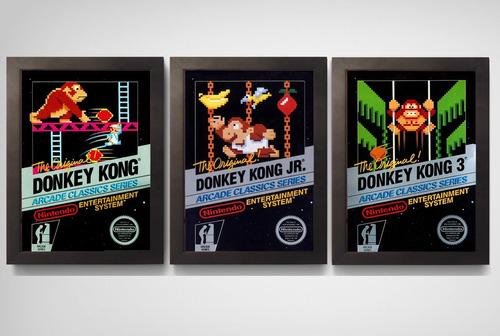 kit 3 quadros c.moldura trilogia donkey kong nes nintendo