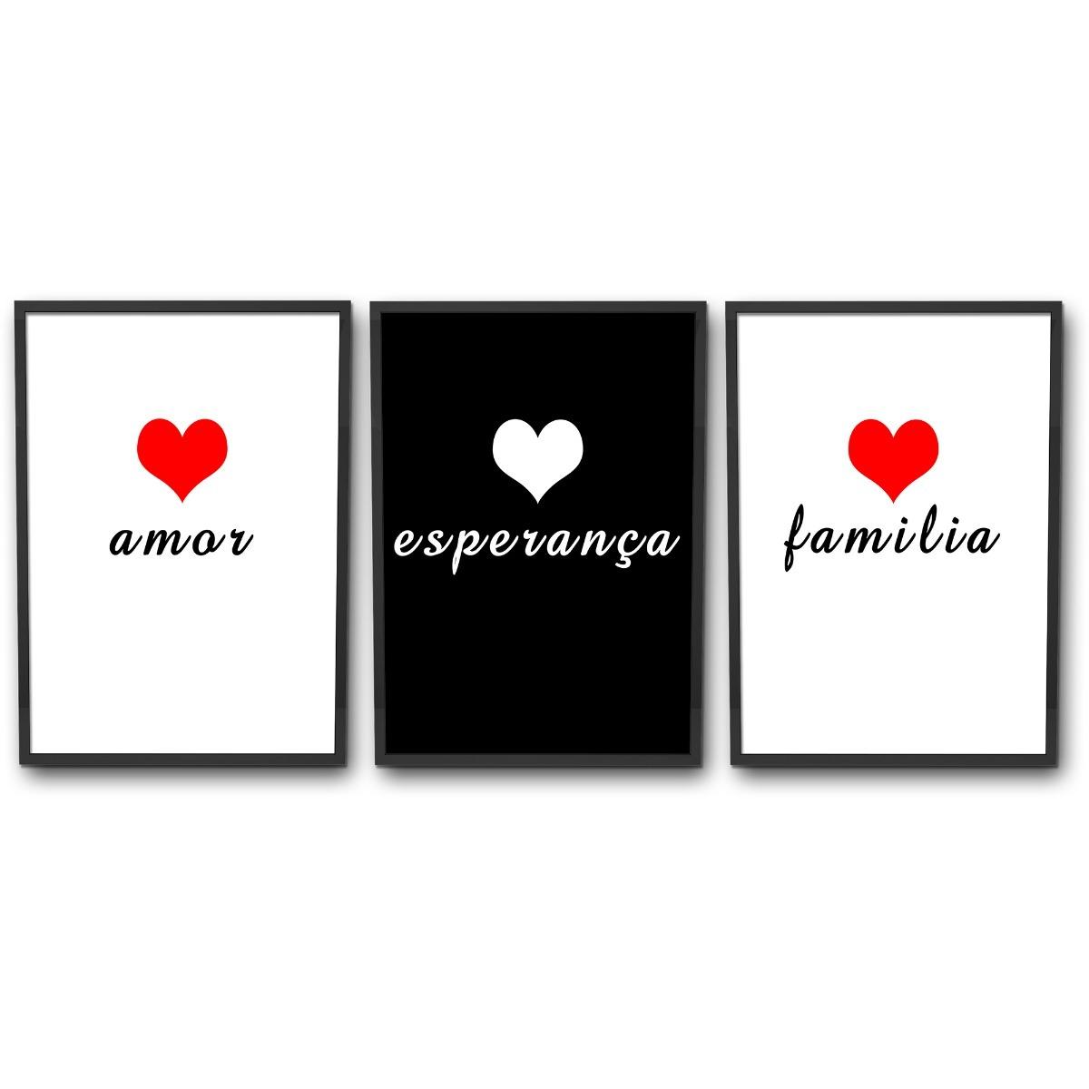 Kit 3 Quadros Decorativo Frases Familia Amor Esperanca Decor R