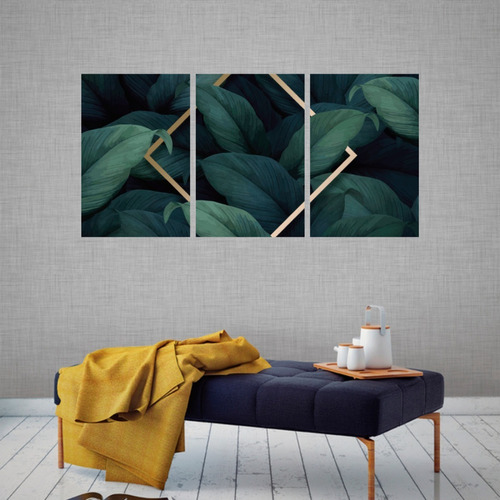 kit 3 quadros decorativo moderno folhas botanico em mdf 6mm