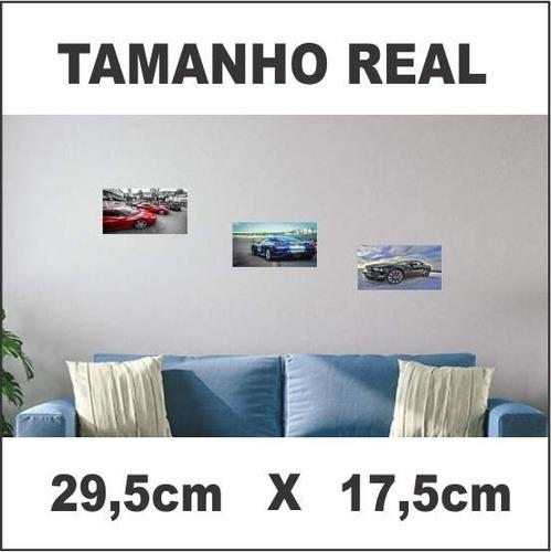 kit 3 quadros decorativos 29,5 x 17,5 carros e paisagem