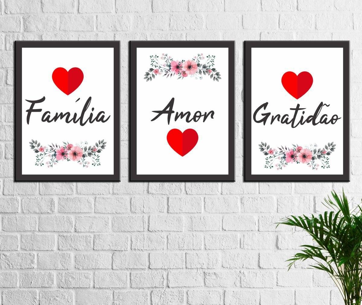 Kit 3 Quadros Decorativos Familia Amor Gratidao Frases R 86 33 Em