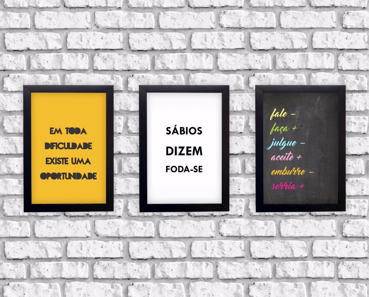 Kit 3 Quadros Decorativos Frases Motivacionais Moldura
