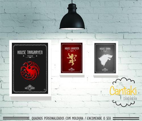 kit 3 quadros decorativos game of thrones- cantaki