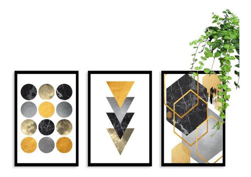 kit 3 quadros decorativos geométrico amarelo moldura sala
