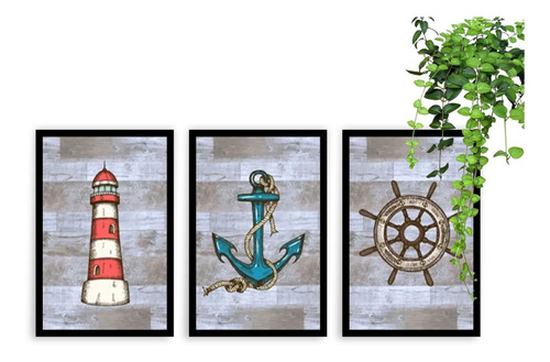 kit 3 quadros decorativos âncora farol marinheiro mar decor