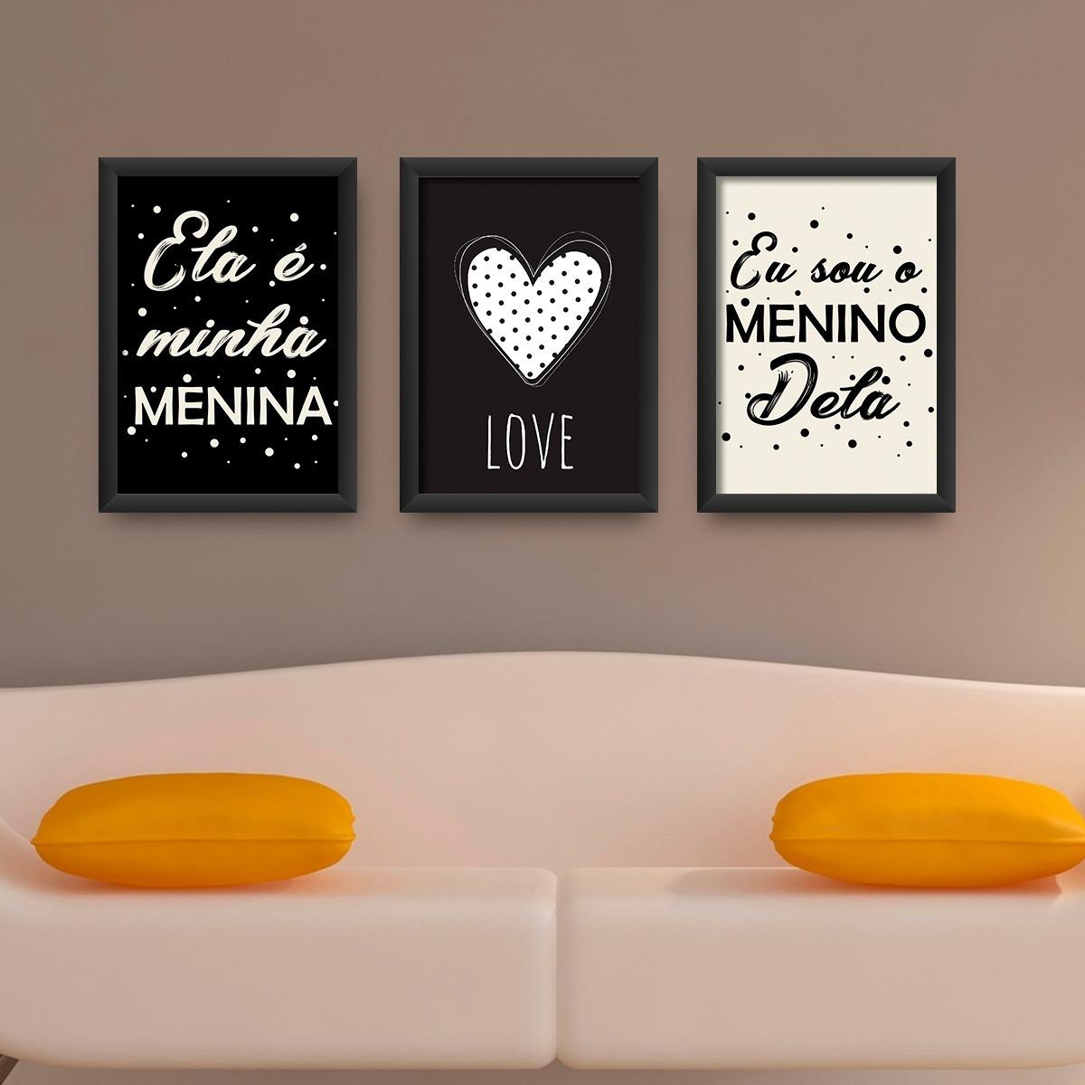 a8035269a kit 3 quadros decorativos quarto casal com moldura e vidro. Carregando zoom.