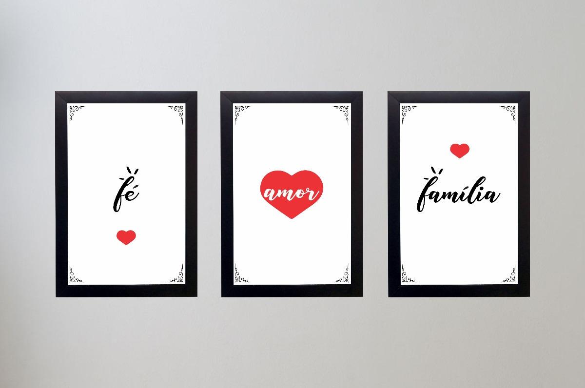 305a451fc Kit 3 Quadros Decorativos Quarto Fé Amor E Família C Moldura - R ...