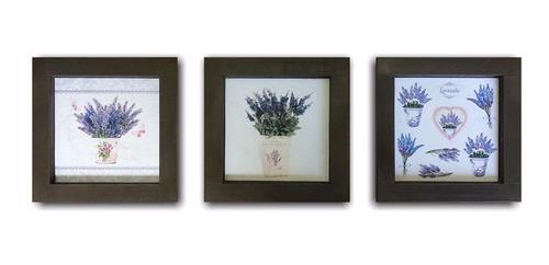 kit 3 quadros, flores lavanda, moldura marrom, 14 x 14 cm