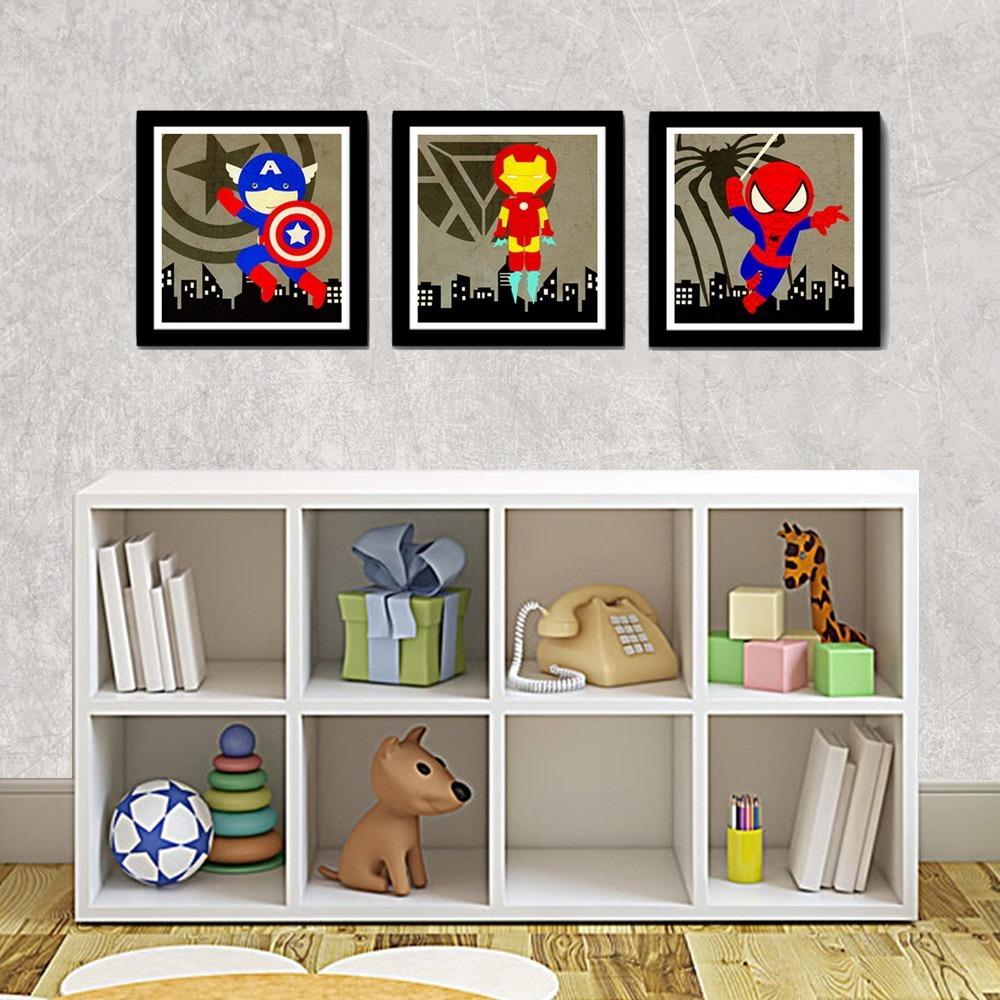e257e3a45 kit 3 quadros super herois decoracao quarto infantil crianca. Carregando  zoom.