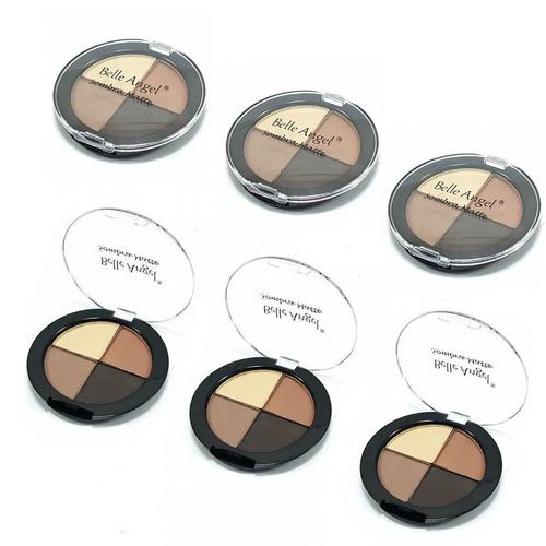 kit 3 quartetos sombras matte estojo maquiagem sobrancelhas