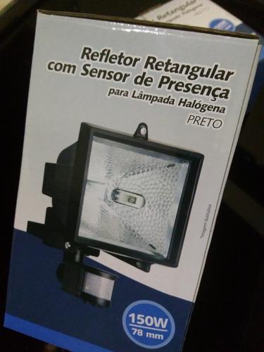 kit 3 refletor retang. sensor presença brasfort 150w bivolt
