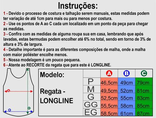 kit 3 regatas longline estampados oversized masculino treino
