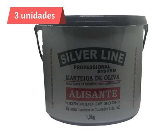 kit 3 relaxante alisante profissional silver line 1,9 kg