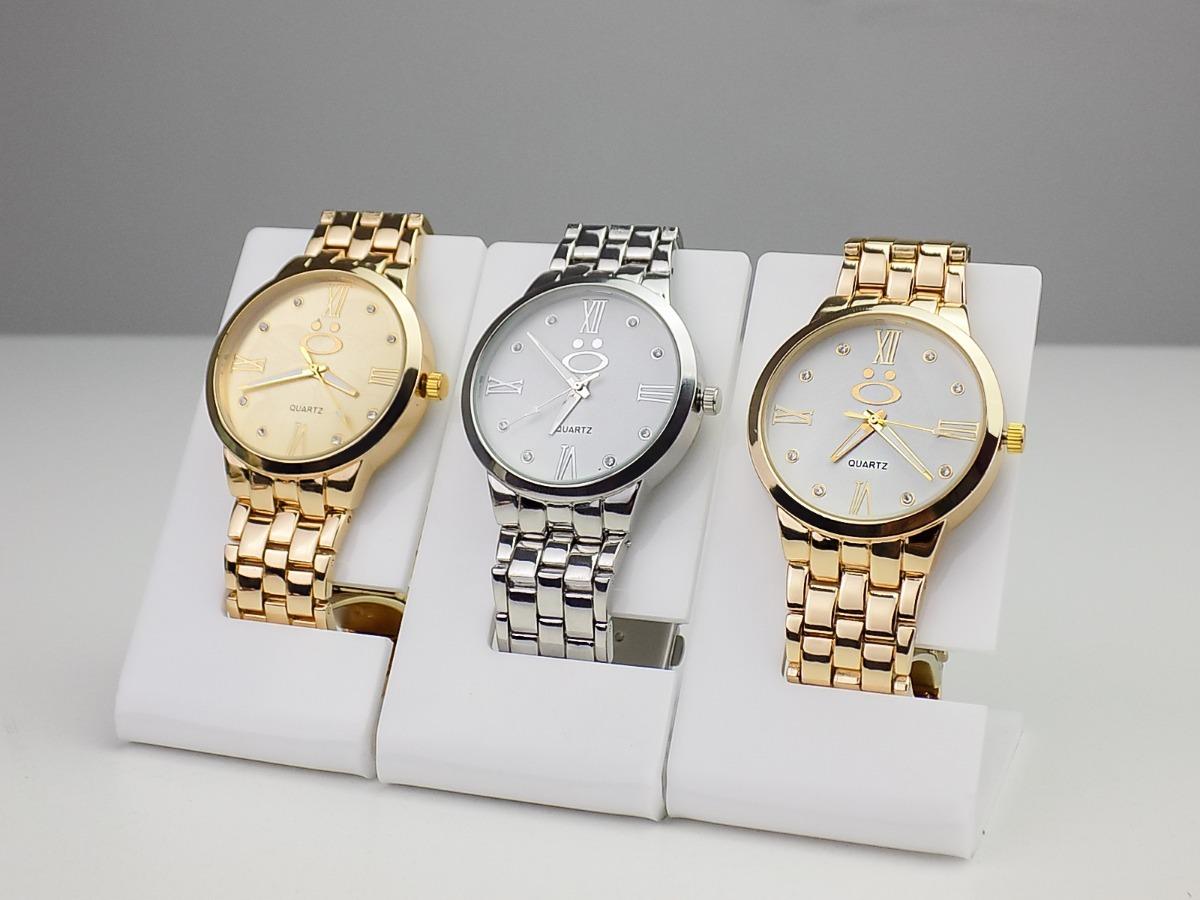 7266af852a5 kit 3 relógio feminino original dourado prata branco top. Carregando zoom.