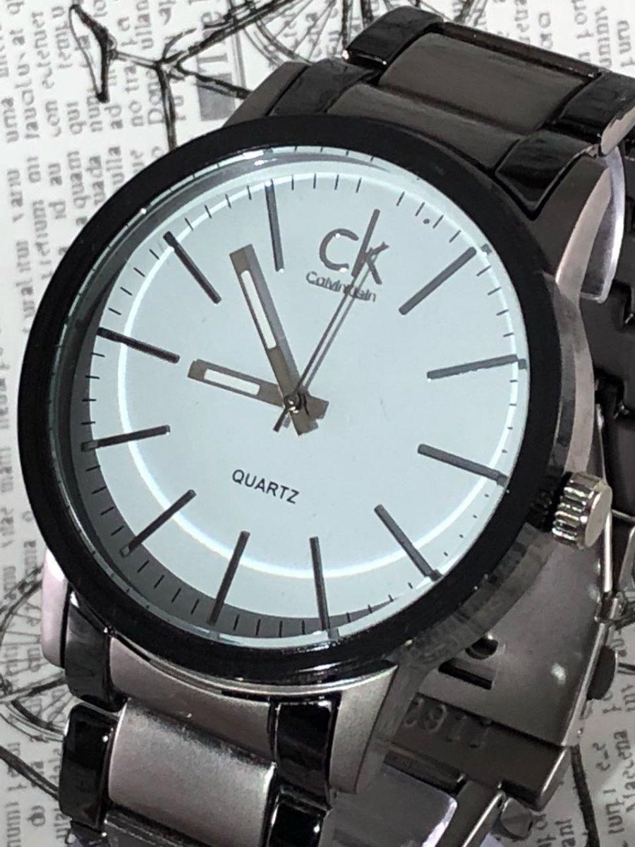 dd1725ea5433c kit 3 relógio masculino ck pulseira de aço promoção preto. Carregando zoom.