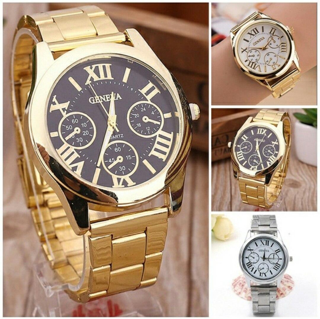 98ca4e1a1fb kit 3 relógios feminino geneva quartz dourado e prata. Carregando zoom.