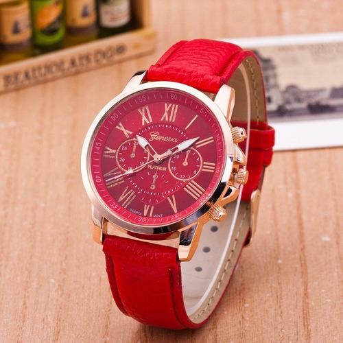 kit 3 relógios femininos casual pulseira de couro colorido