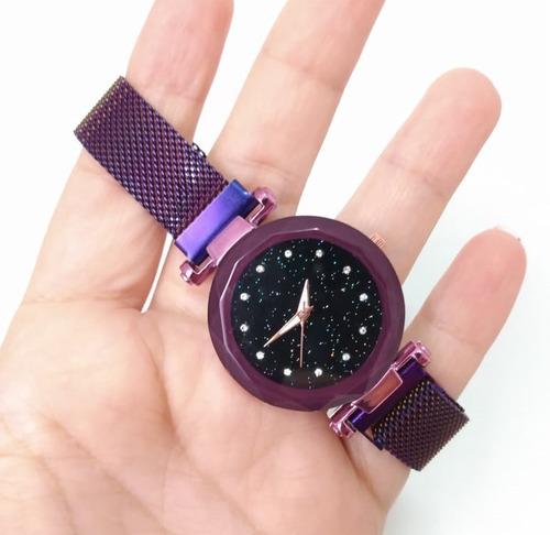 kit 3 relógios femininos universo rose pulseira magnética