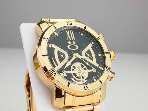 kit 3 relógios masculino dourado original barato atacado