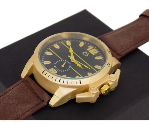 kit 3 relógios masculino dourado original promoção + caixa