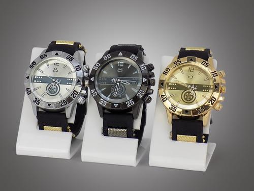kit 3 relógios masculino dourado prata original atacado