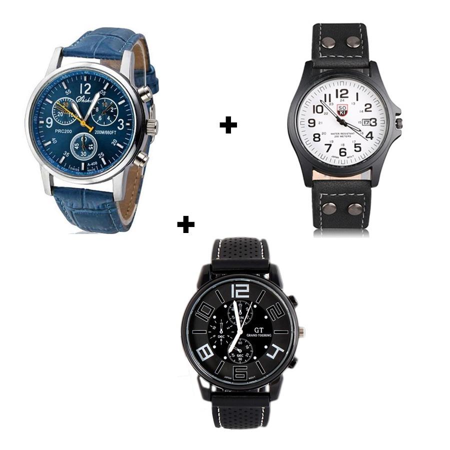 6f495770634 kit 3 relógios masculinos de luxo bonitos e baratos couro. Carregando zoom.